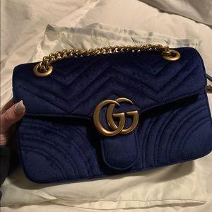 Cobalt blue velvet Gucci marmont shoulder bag